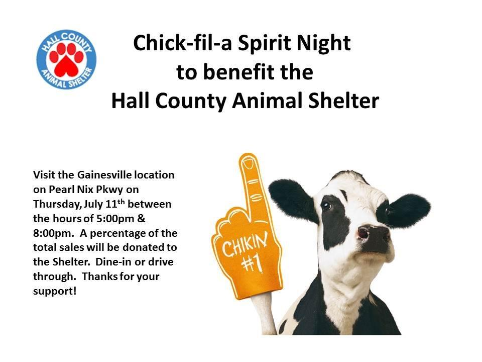 Chick-Fil-A Spirit Night to Benefit the Hall County Animal Shelter ...