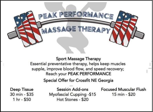 It's Massage Time! Super Flexible on Times Available! And VERY affordable for CFNEGA members! Peak Performance Massage Therapy is NOW at CrossFit NE Georgia! ‪#‎massagetherapy‬  Sign up now @ http://www.signupgenius.com/go/30e0f4aaeaa2caaf94-massage Massages start next week! Wednesday --> Friday times available!